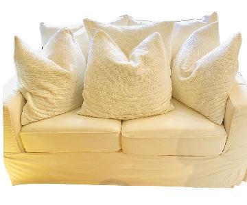 Off-White/Beige Slipcovered Loveseat