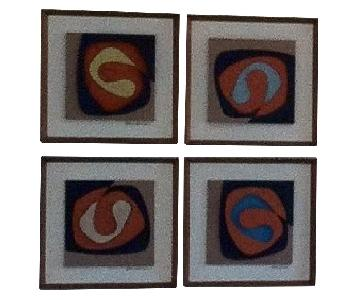 Vintage Allen Noonan Originals 4-Piece Abstract Wall Art