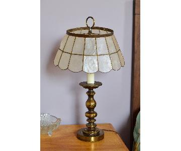 Vintage Brass Lamp w/ Capiz Shell Lampshade