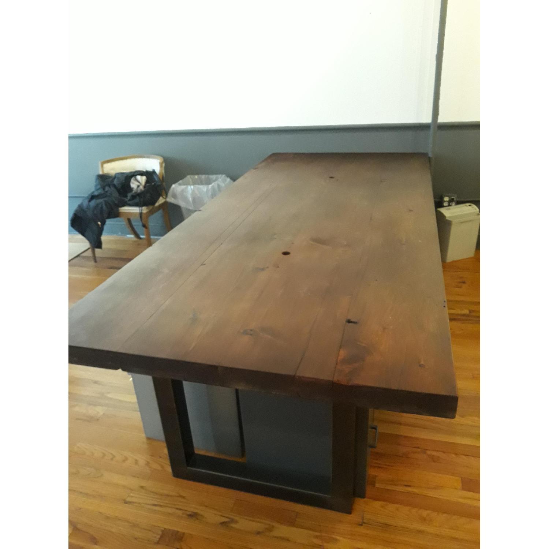 Custom Pine Wood Table Top w/ Metal Base-0