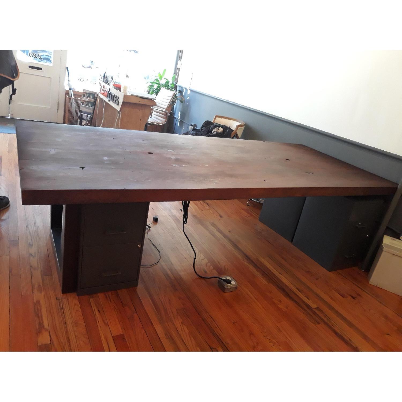 Custom Pine Wood Table Top w/ Metal Base-1