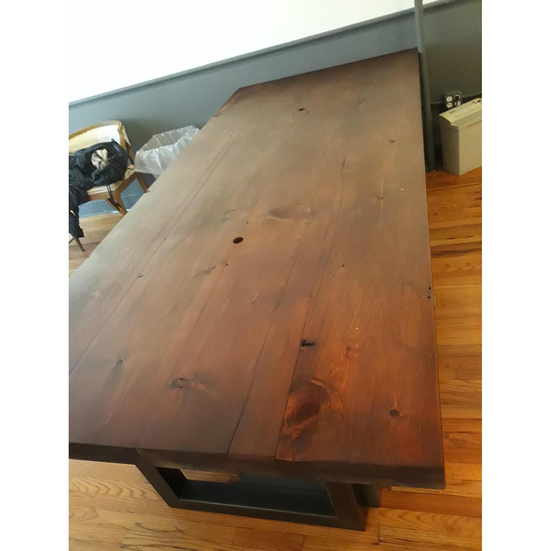 Custom Pine Wood Table Top w/ Metal Base-2