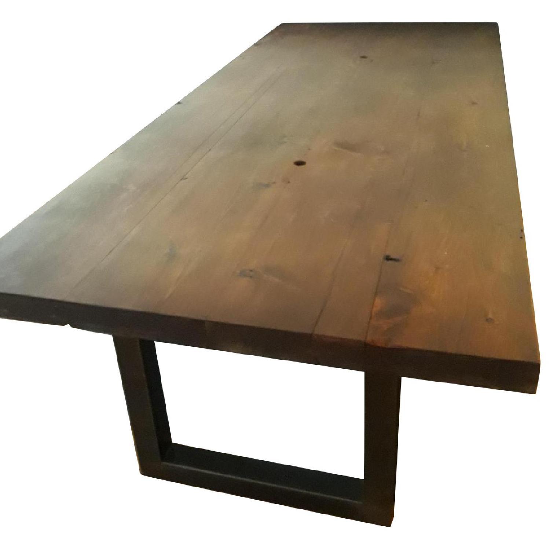 Custom Pine Wood Table Top w/ Metal Base-3