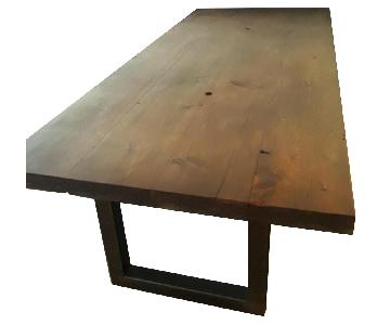 Custom Pine Wood Table Top w/ Metal Base