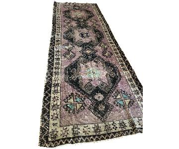 Vintage Turkish Purple Oushak Runner Rug