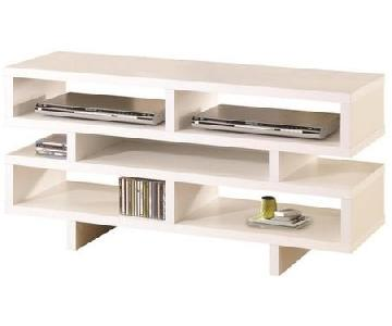 White TV Console w/ 5 Open Storage Compartments