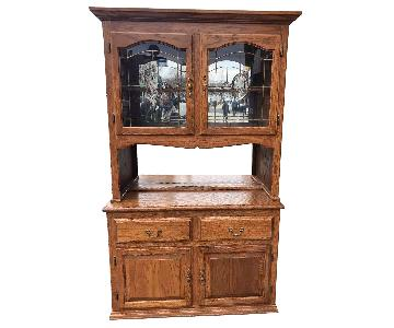 Vintage Solid Wood China Cabinet w/ Hutch & Lights
