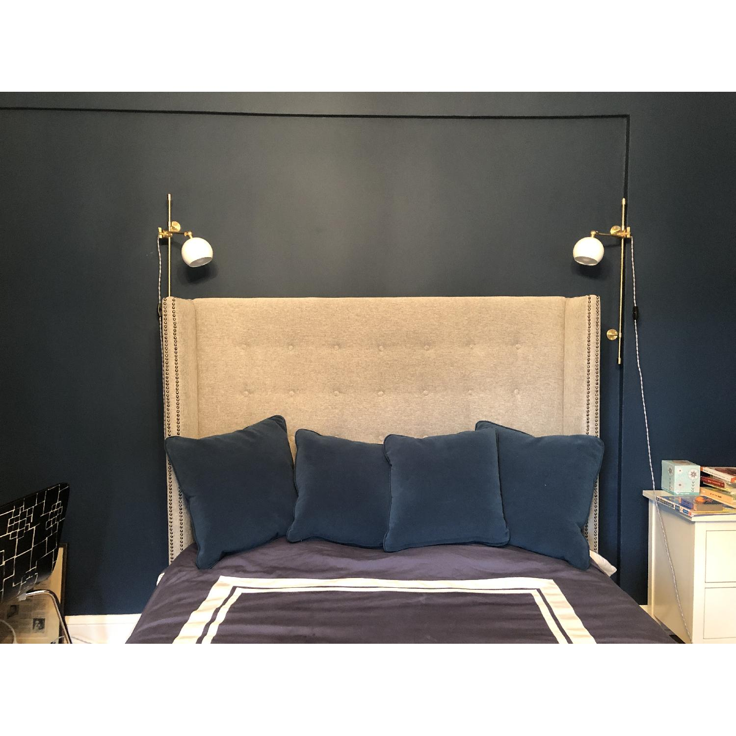 Queen Size Grey Upholstered Bed