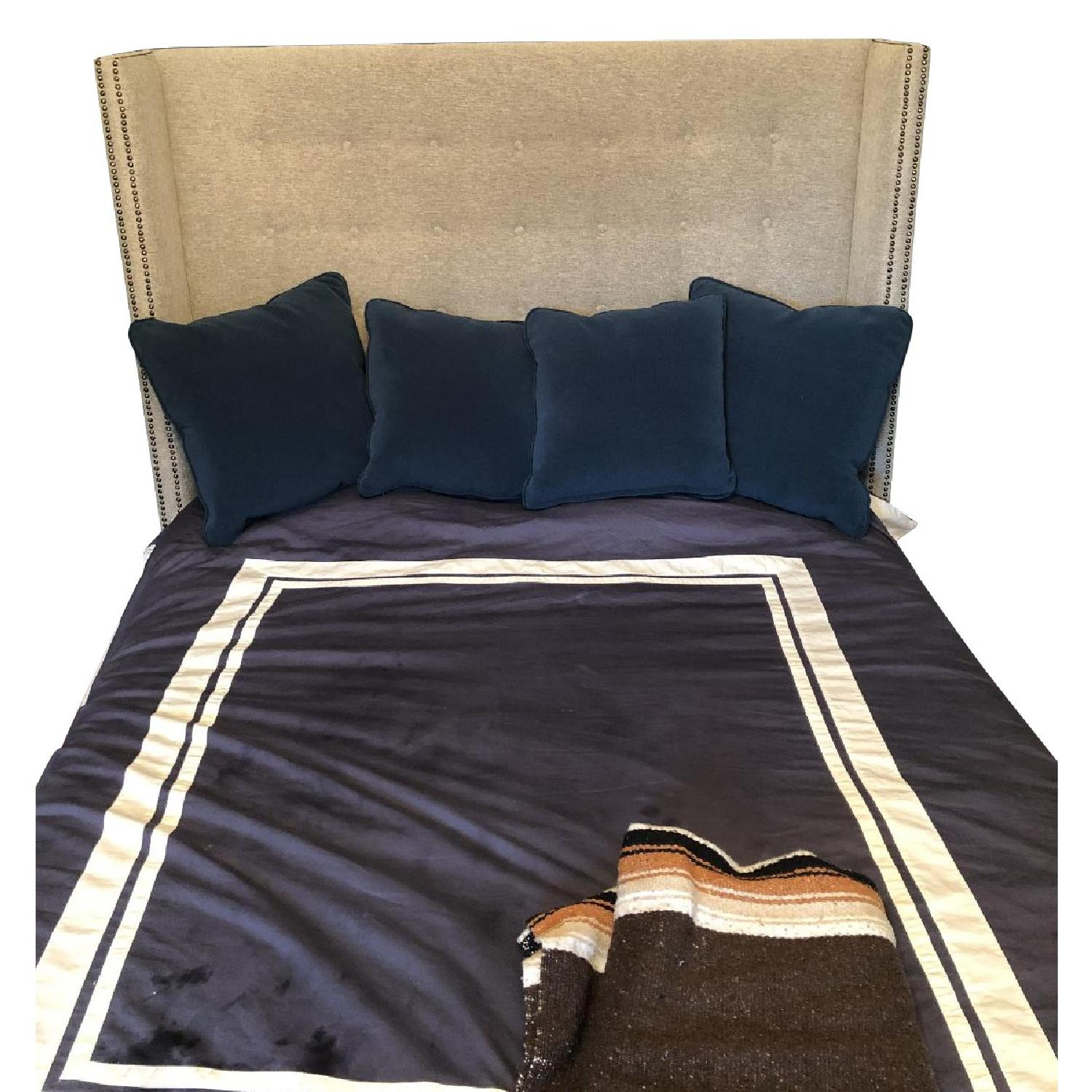 Queen Size Grey Upholstered Bed-4