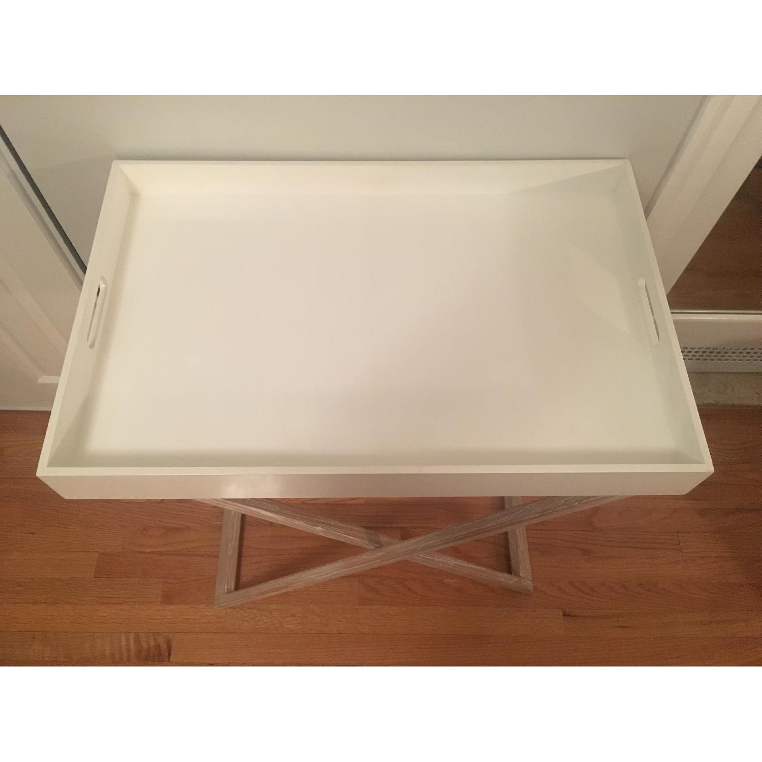 West Elm Butler Tray Table in White Lacquer & White Wood-0
