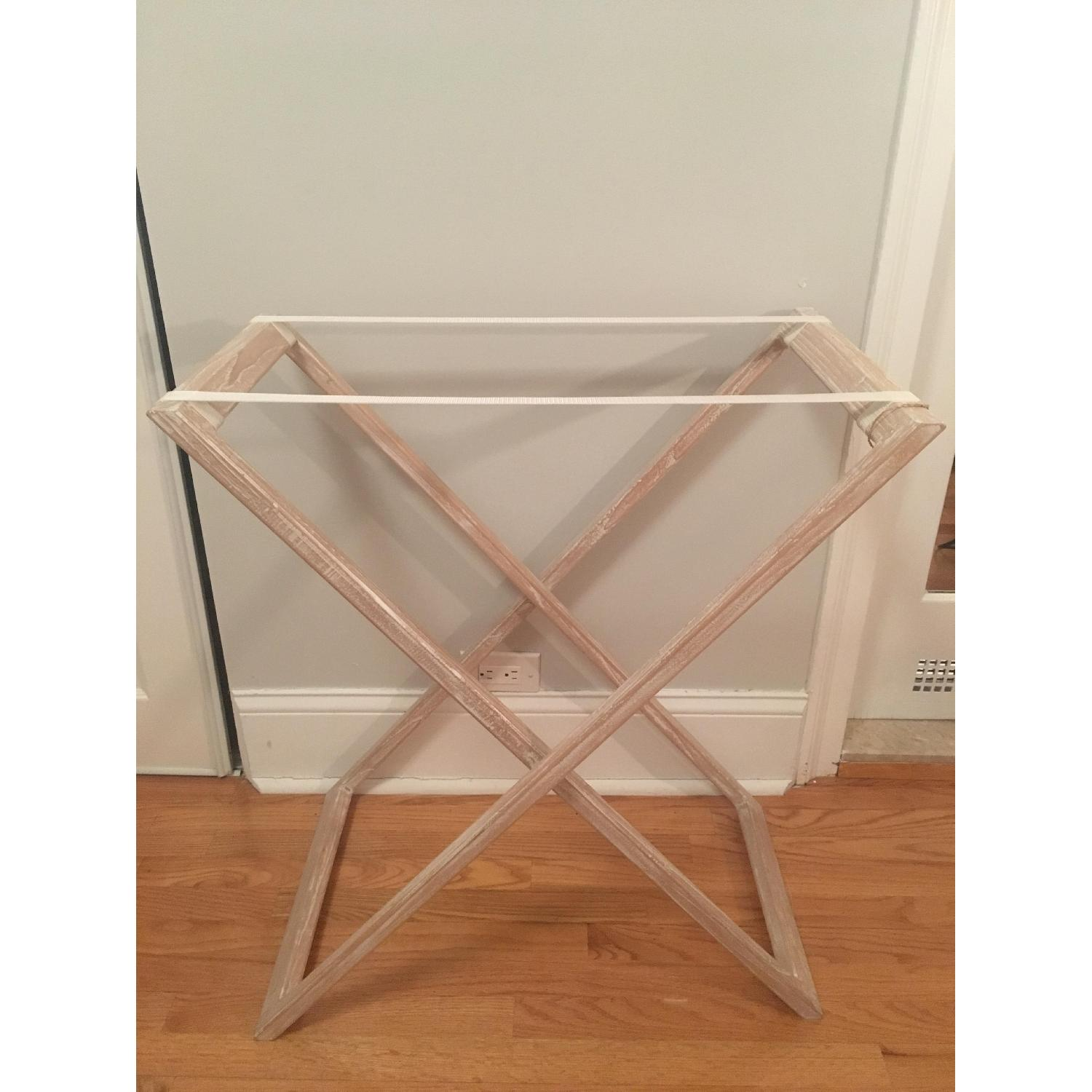 West Elm Butler Tray Table in White Lacquer & White Wood-1