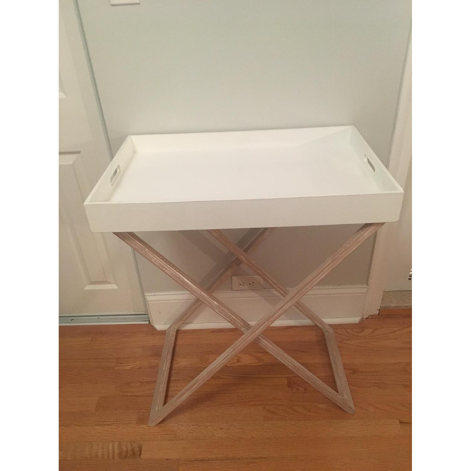 West Elm Butler Tray Table in White Lacquer & White Wood-4