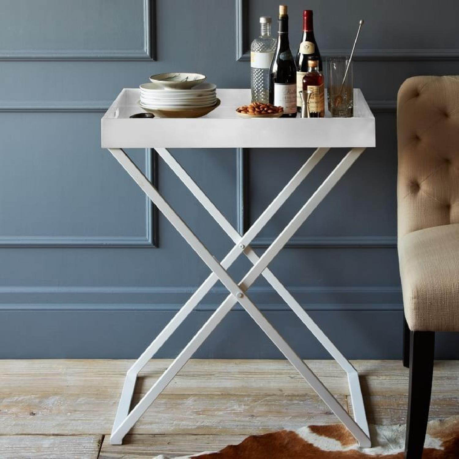 West Elm Butler Tray Table in White Lacquer & White Wood-6