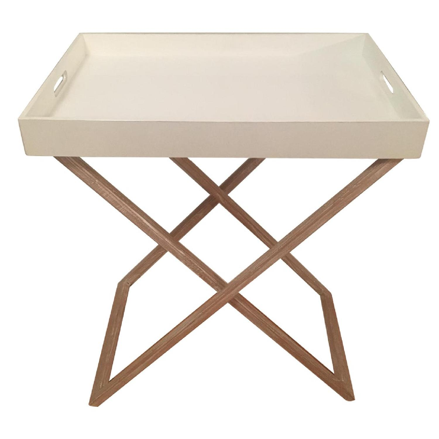 West Elm Butler Tray Table in White Lacquer & White Wood