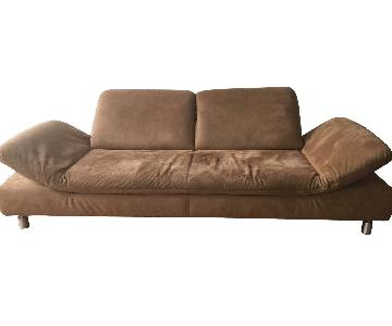 Brown Suede Sofa w/ Adjustable Sides