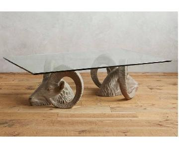 Anthropologie Land & Sky Coffee Table w/ Rams Head