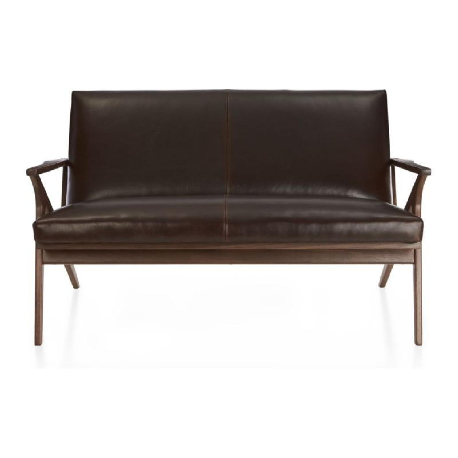 Crate & Barrel Cavett Leather Loveseat