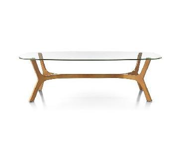 Crate & Barrel Rectangular Glass Coffee Table