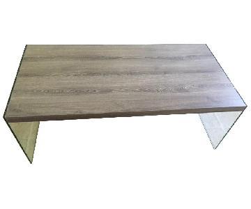 Wood Top Coffee Table w/ Acrylic Legs