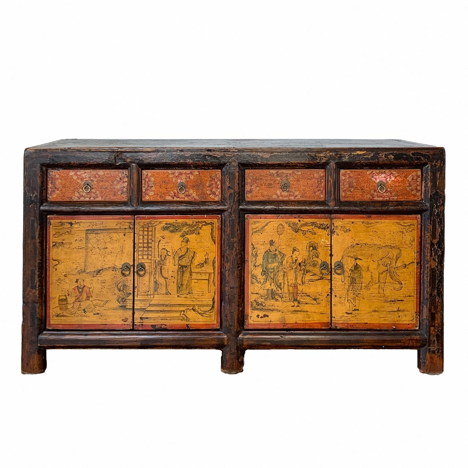 Antique Chinese Lacquered 4 Door 4 Drawer Sideboard