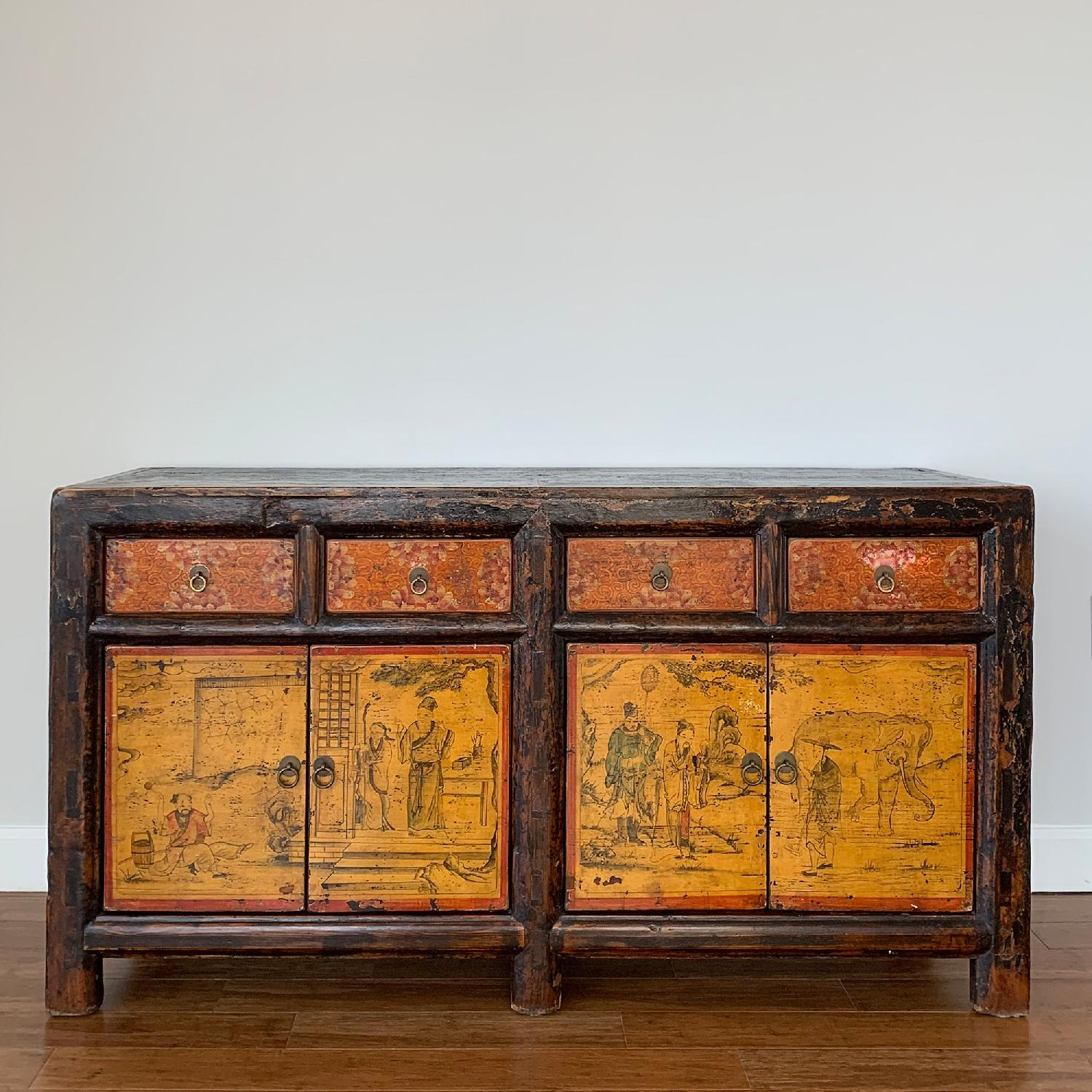 Antique Chinese Lacquered 4 Door 4 Drawer Sideboard-0