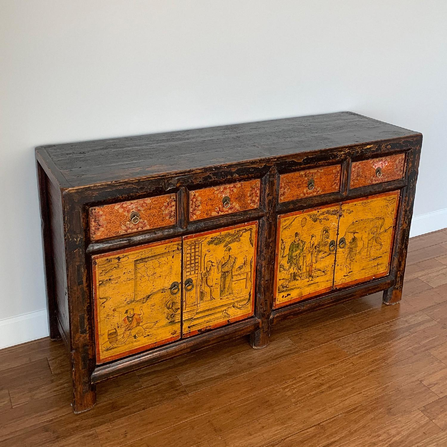 Antique Chinese Lacquered 4 Door 4 Drawer Sideboard-1