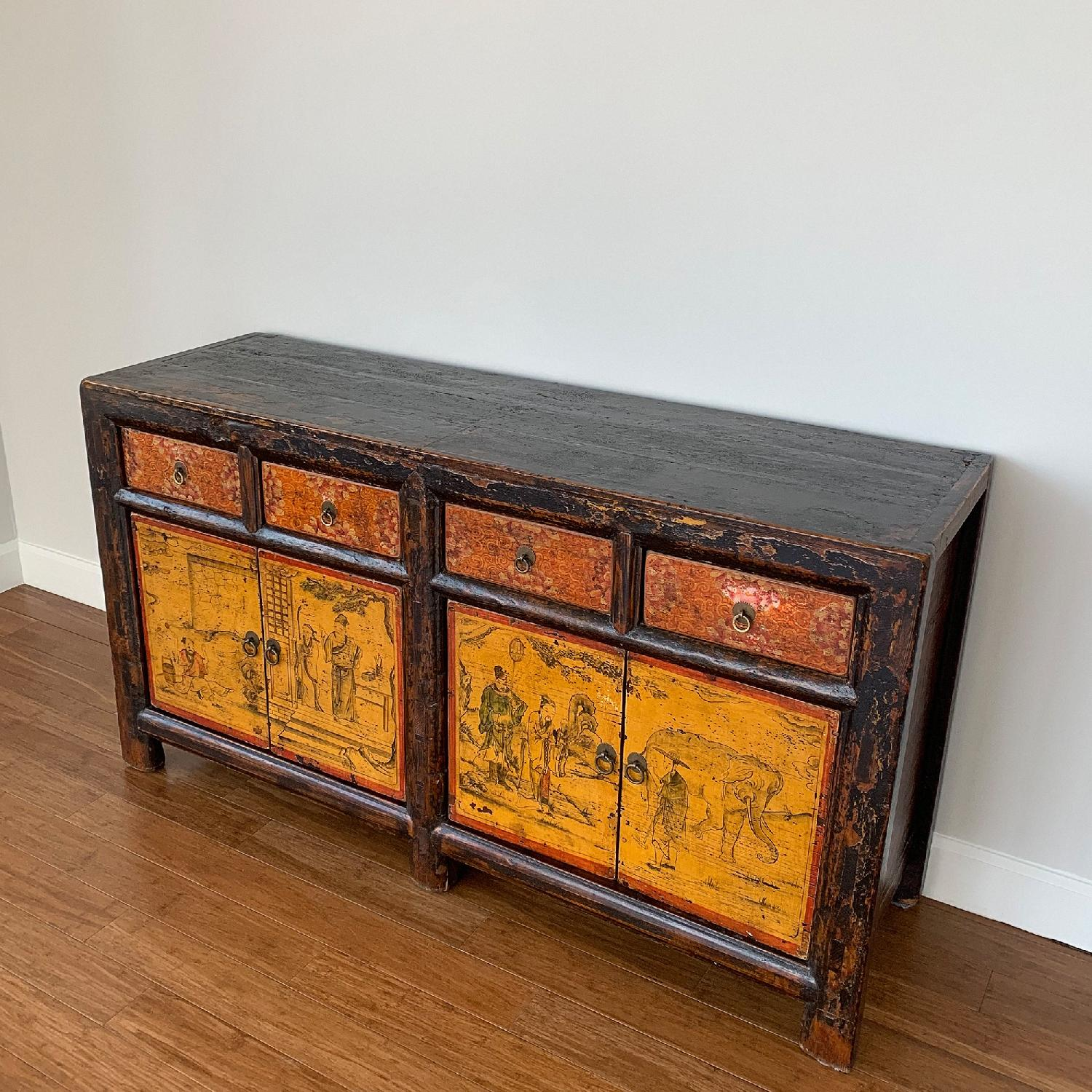 Antique Chinese Lacquered 4 Door 4 Drawer Sideboard-2
