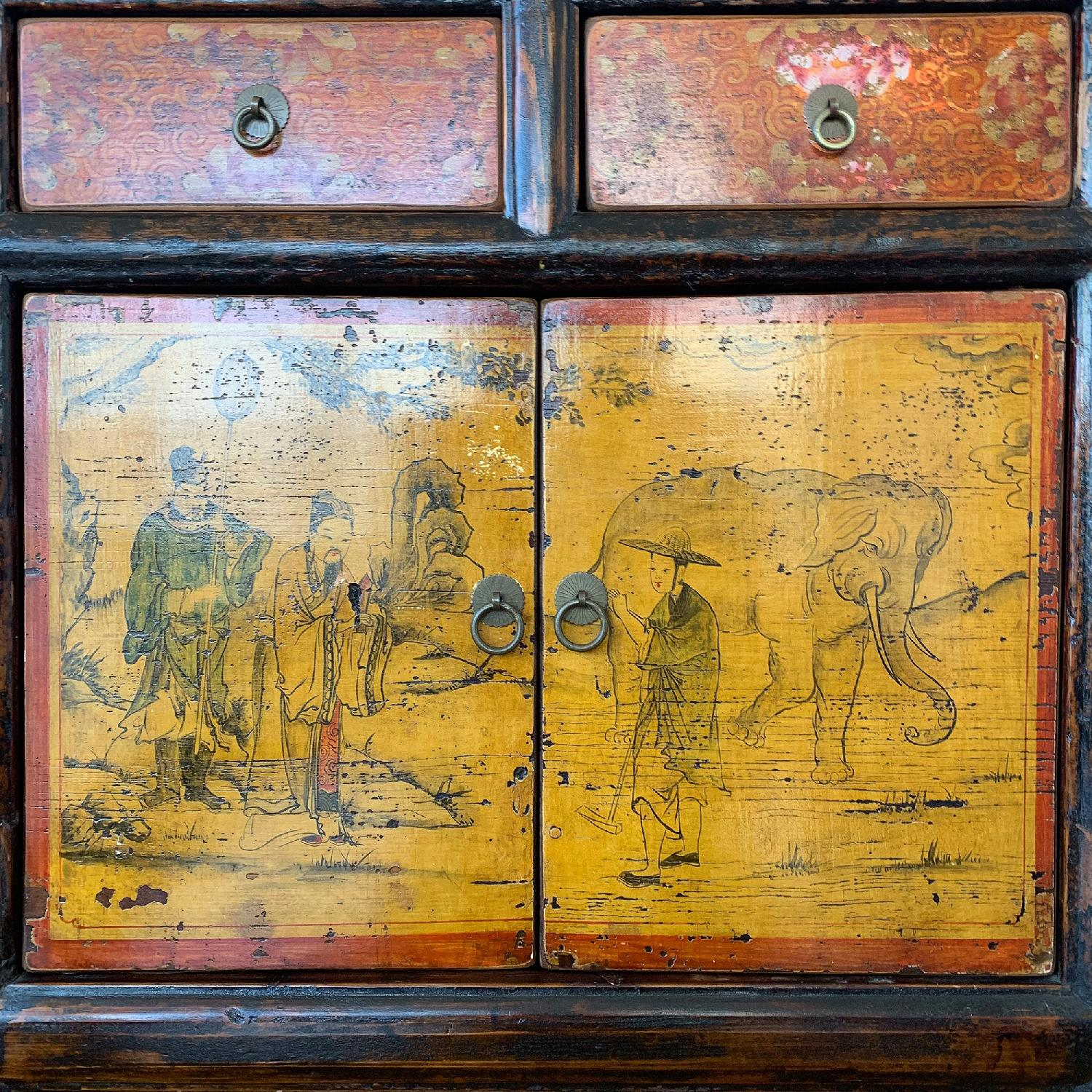 Antique Chinese Lacquered 4 Door 4 Drawer Sideboard-7