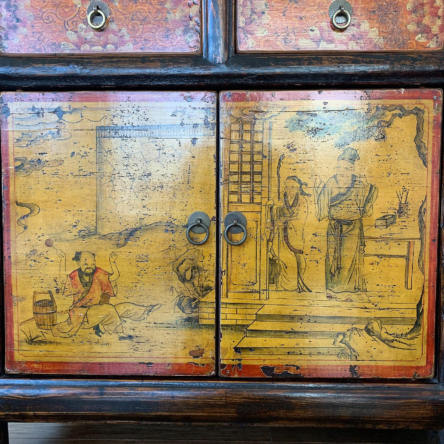 Antique Chinese Lacquered 4 Door 4 Drawer Sideboard-8