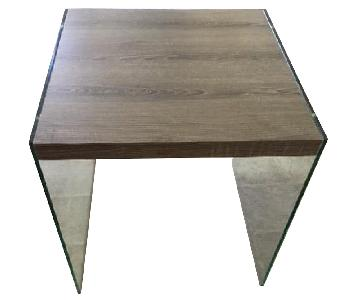 Wood Top End Tables w/ Acrylic Legs