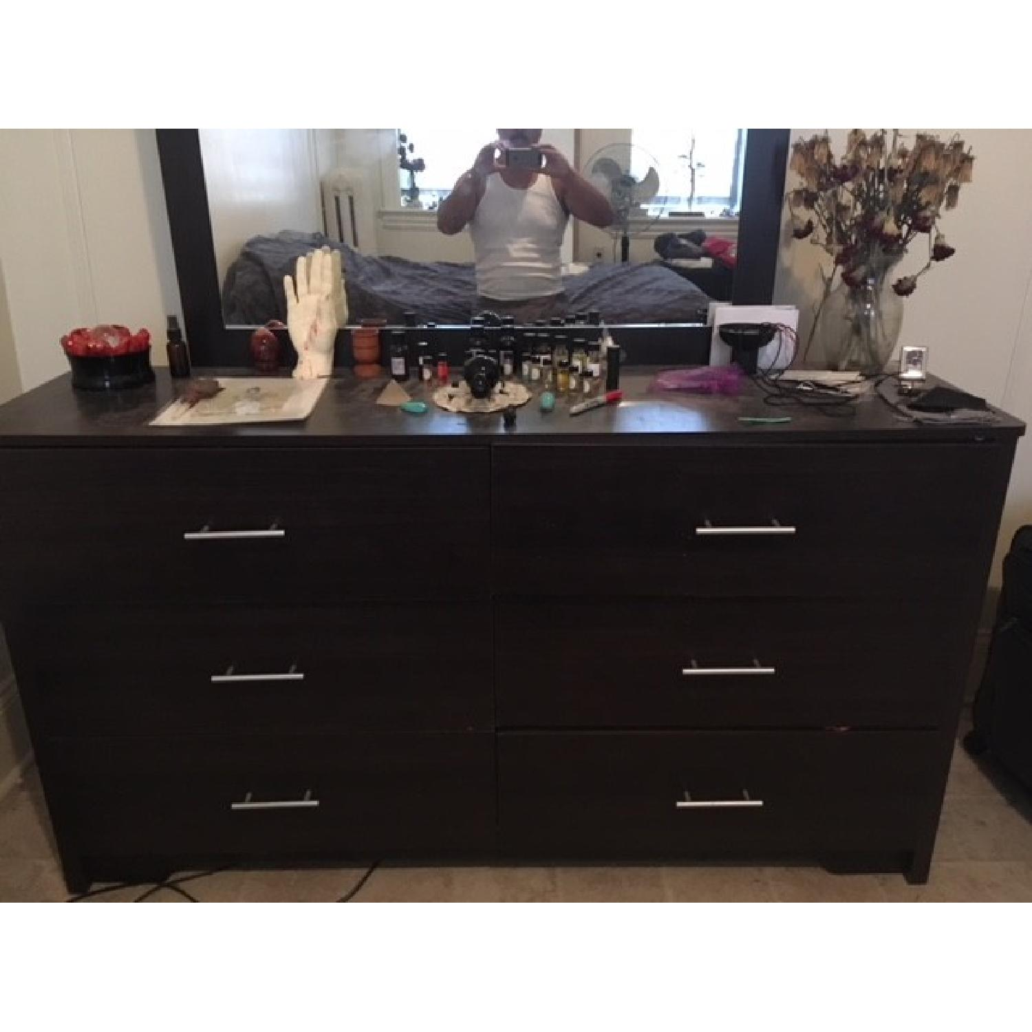 Urban Essentials Dark Wood 6-Drawer Dresser-2