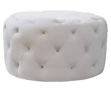 House of Hampton Horncastle Light Gray Velvet Tufted Ottoman