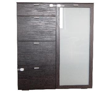 Ellis Brothers Black Brown Dresser w/ Frosted Glass Door