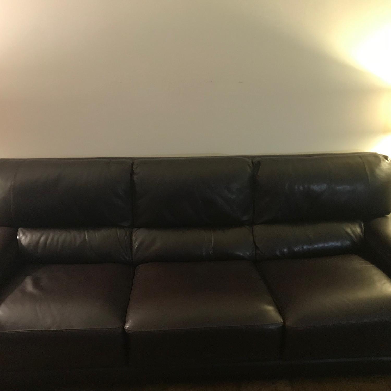 Bloomingdale's Brown Leather Sofa-0