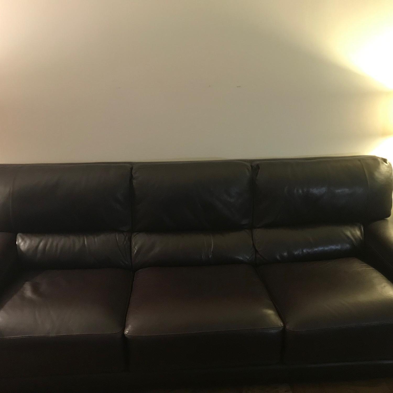 Bloomingdale's Brown Leather Sofa-1
