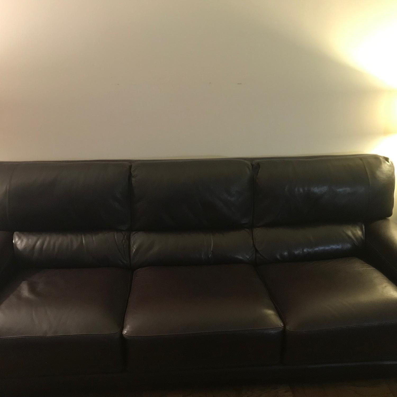Bloomingdale's Brown Leather Sofa-3