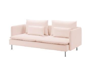 Ikea Soderhamn Pink 2 Seater Sofa & Ottoman