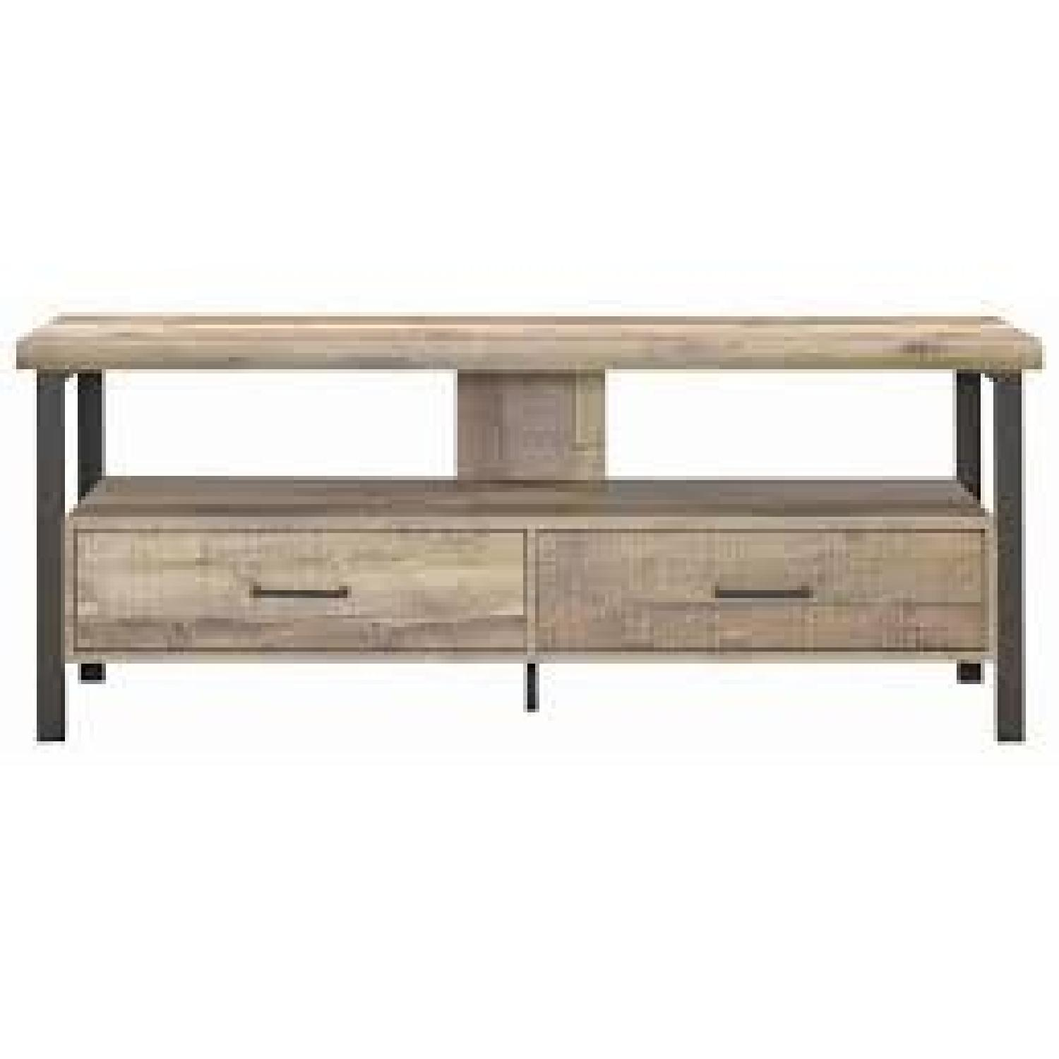 Weathered Pine TV Console w/ 2 Drawers