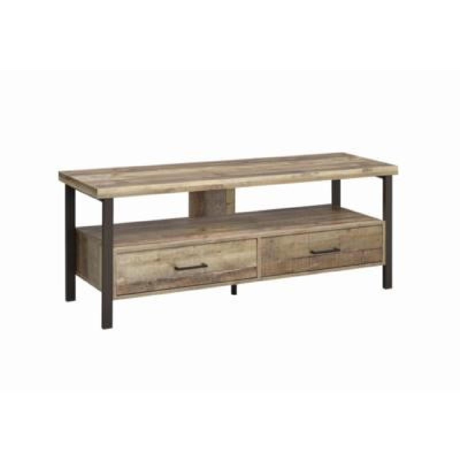 Weathered Pine TV Console w/ 2 Drawers-0