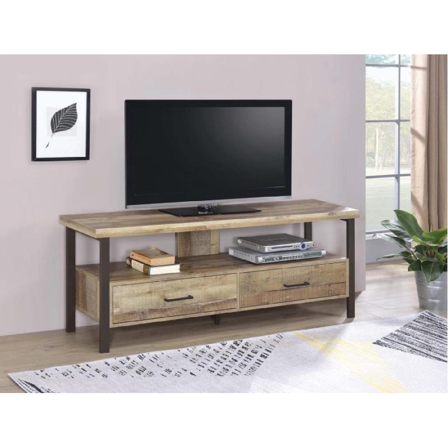 Weathered Pine TV Console w/ 2 Drawers-1
