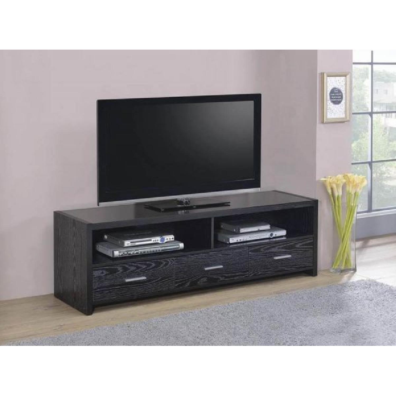 Black Oak TV Console w/ 3 Drawers-1