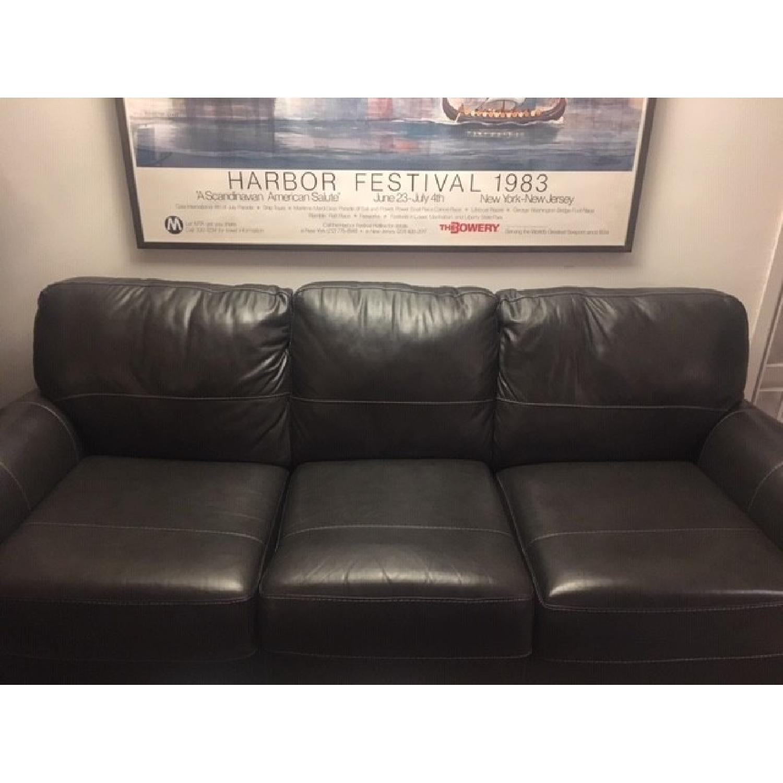 Darby Home Bacall Gunmetal Leather Sofa-0