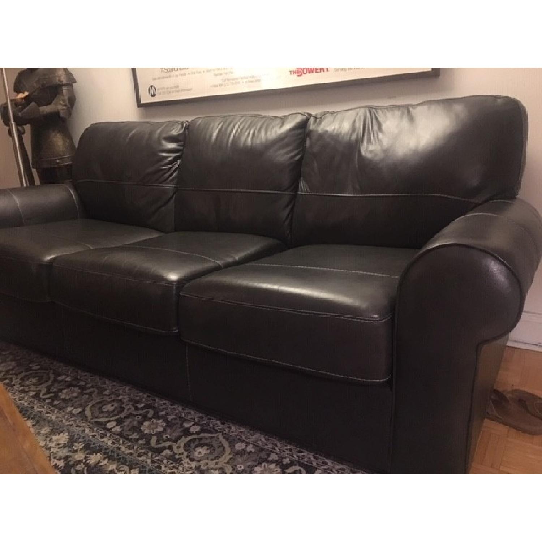 Darby Home Bacall Gunmetal Leather Sofa-1
