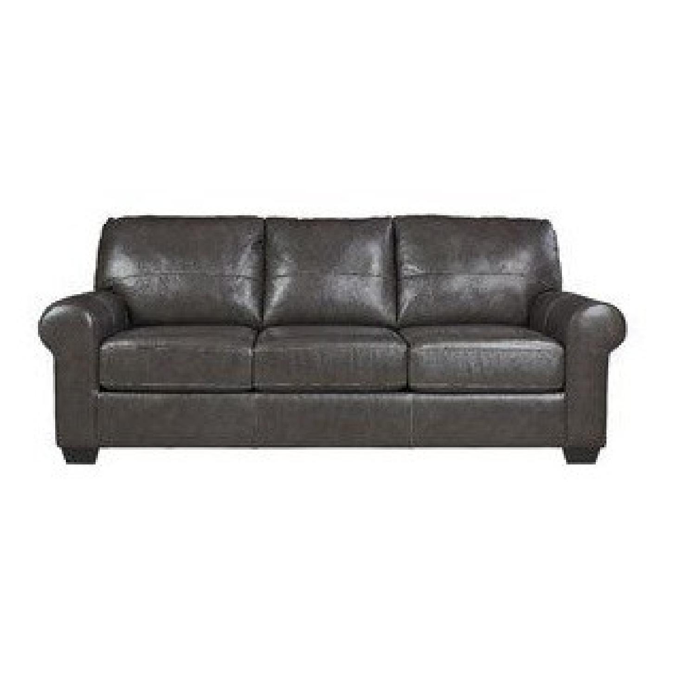 Darby Home Bacall Gunmetal Leather Sofa-2