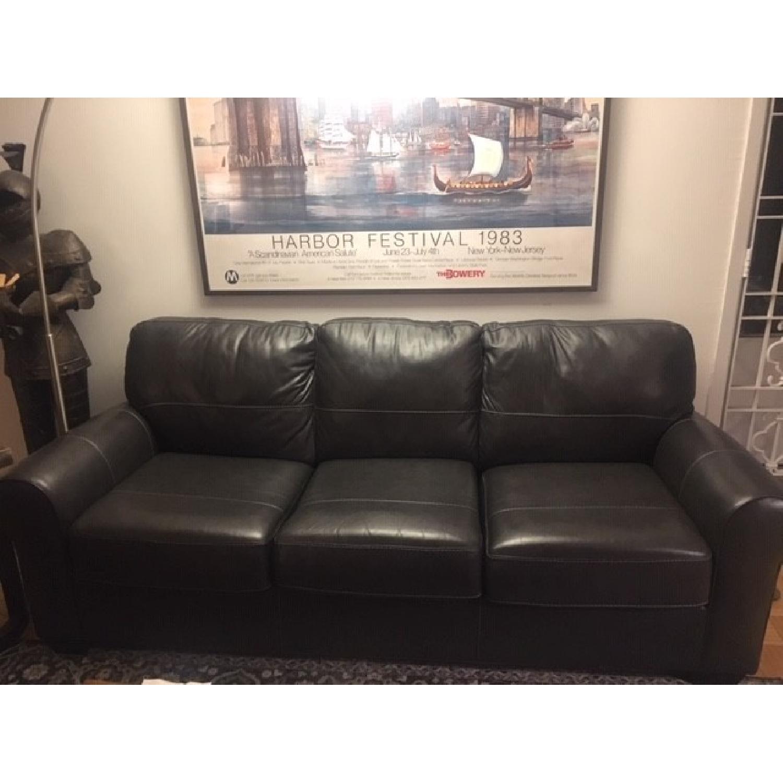 Darby Home Bacall Gunmetal Leather Sofa-5