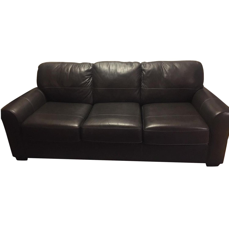Darby Home Bacall Gunmetal Leather Sofa