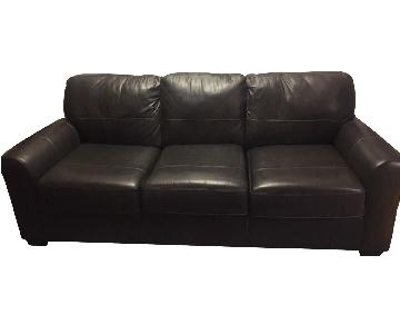 Darby Home Bacall Gunmetal Leather Sofa