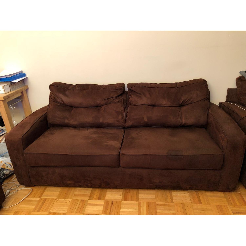 Metropia Brown Suede Sleeper Sofa-0