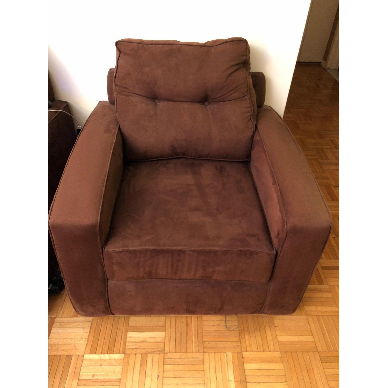 Metropia Brown Suede Armchair-0