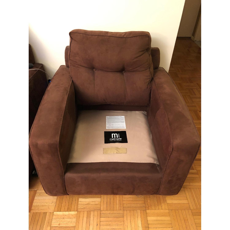 Metropia Brown Suede Armchair-1